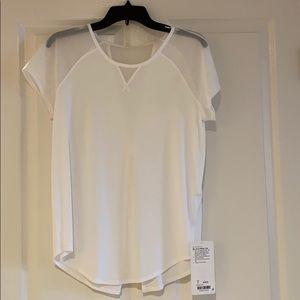 Lululemon new white + sheer mix and mesh tee